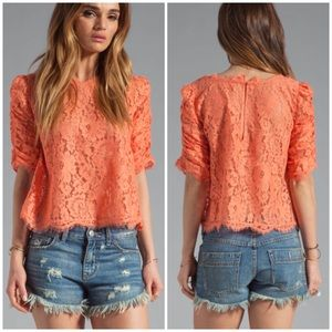 Joie REVOLVE Fanny Lace Blouse Top Hot Coral